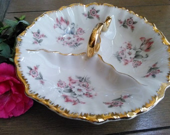 Shabby Chic Floral 3 Part Serving Bowl Tid Bit Bowl Vanity Bowl with Gold Trim