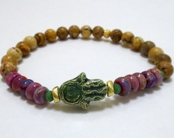 Tiger Eye Beaded Bracelet with Green Ceramic Hamsa, Pink Rondelle Beads and Gold/Green Spacers