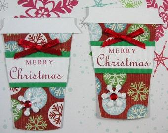 Christmas Cup Embellishment, Christmas Tag, Set of 2, Vintage