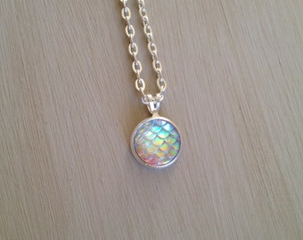 OPAL PEARL WHITE mermaid scale necklace