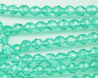 One 16-inch strand (about 50 beads) 8 mm light emerald firepolished beads - 160