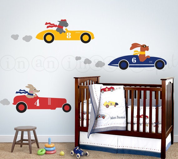 Racecar wall decal race car decal with dogs dogs by for Amazing race car wall decals