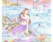 Mermaid Art Print, Pacific Mermaid, Mermaid on Rock with Turtles, Dolphins, Jellyfish, Starfishes, 11 x 13.75 in.art print