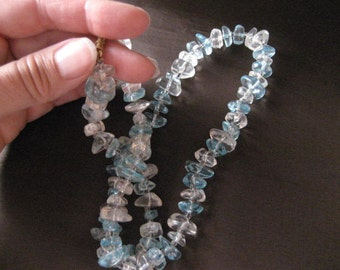 Vintage clear and blue lucite necklace.