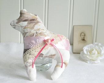 Fabric Dala horse, Swedish handmade dala hast, plush horse, pink fabric, dalecarlian horse home decor