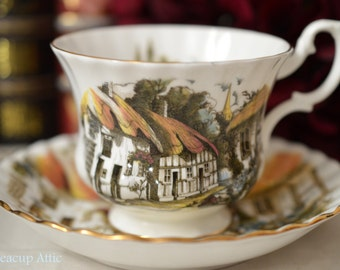ON SALE Royal Albert Cottage Scene Teacup and Saucer Set, English Bone China Tea Cup Set, Afternoon Tea Party, ca. 1970