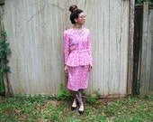 Vintage Mod Peplum Dress with Belt hot Pink size small