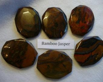 Destash Bamboo Jasper Large Hexagon Pendant Cabochons  6 Pieces