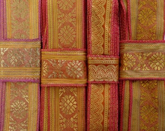 Red and Pink and Gold Sari borders, SR215