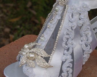 Victorian Wedding Shoes Modern Boots high heels, lace appliqué straps crystals and pearls,Satin and Lace Ankle Bootie, Peep Toe,Zipper