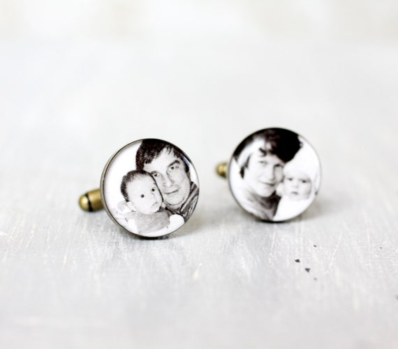 Custom Photo Cufflinks - Wedding Cufflinks - Picture Cuff Links