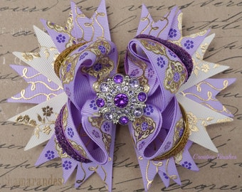 Lavender and Gold Hair Bow, Purple Rhinestone Stacked Hair Bow