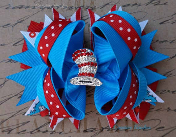 Cat in the Hat Hair Bow, Seuss Bow Rhinestone Center