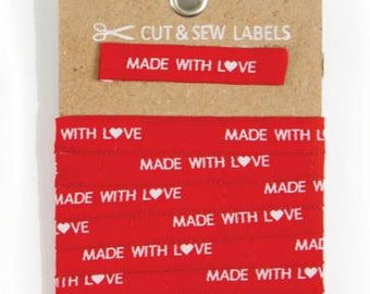 Moda Cut & Sew Labels - Made with Love in Red (998-30) - 1 package