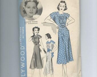 Vintage 1930s Women's Frock Dress Pattern Hollywood Patern 1489