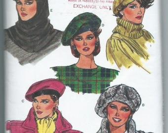 Vintage 1985 Misses' Hat and Hood Sewing Pattern Vogue 9454