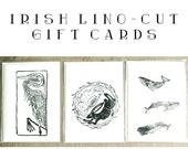 Irish Lino-Cut Gift cards - Set of three - celtic lino print cards - handmade cards