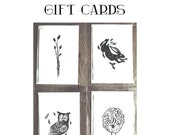 Irish Lino-Cut Gift cards - Set of four - Celtic animal  lino print cards - handmade cards - hare owl sheep mushroom
