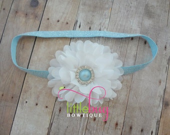 Aqua Blue White Flower on Baby Blue Glitter Elastic Headband - Pearl Rhinestone Newborns, Toddlers, Girls, Teens