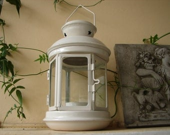 Vintage cream , small metal tin & glass lantern, votive candle tealight holder