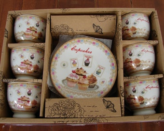 pink roses, ceramic china, tiny espresso coffee cups and  saucers, 6 person set, vintage style cupcakes design