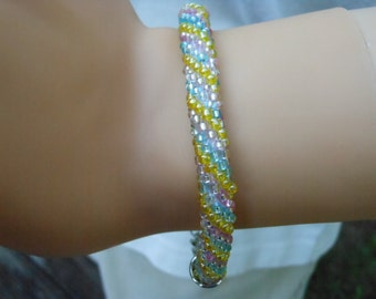 Crochet Bead Bracelet Blue Pink and Yellow Spiral Rope