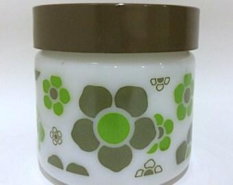 Mod Retro Green Flower Milkglass Container