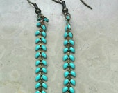 Long thin fish bone antique bronze vintage chain earrings , turquoise lacquer, handmade