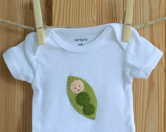 Peanut Baby Bodysuit Felt Applique Design Cute Baby Clothes