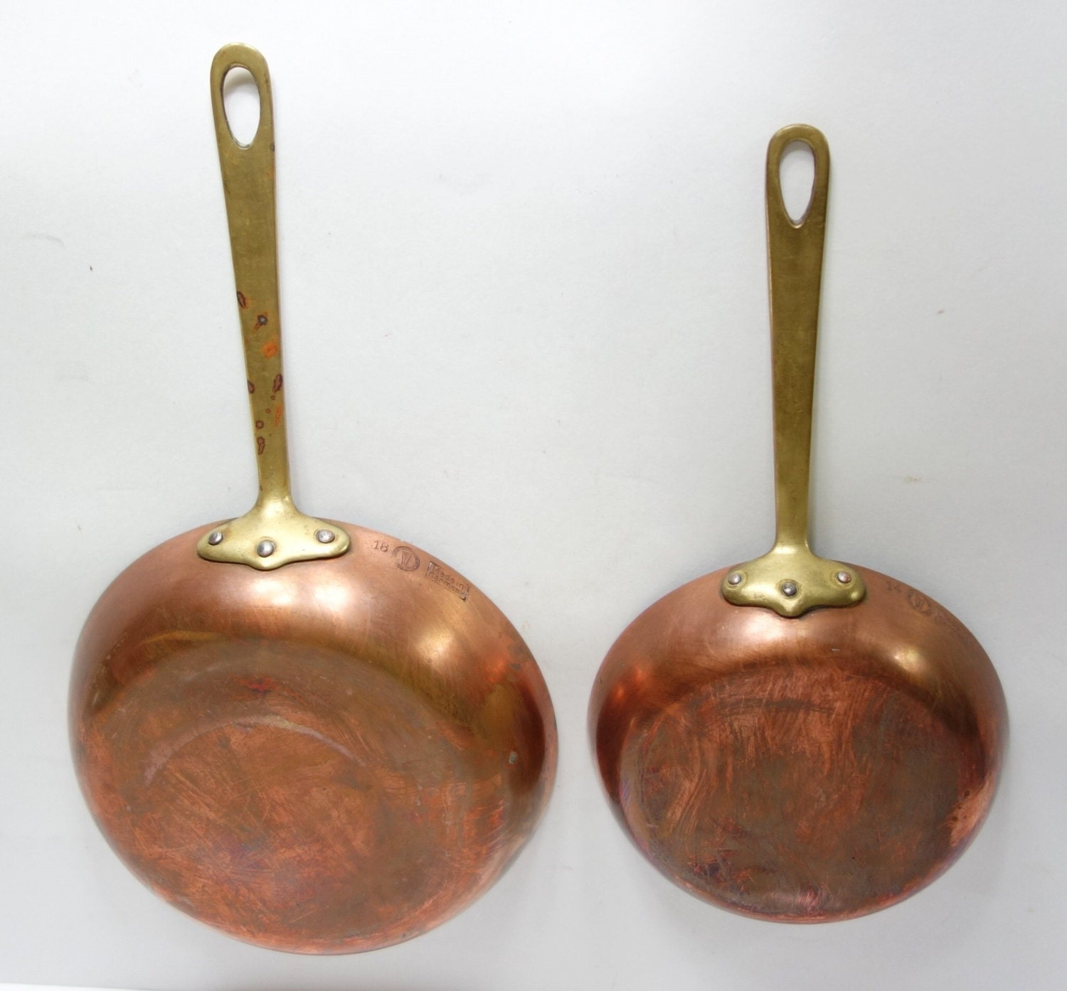 Vintage Pair Christian Wagner Copper Pan Brass Handle Tin