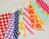 Bunting Banner - Rainbow Bunting Flags - Pink, Green, Yellow, Orange, Navy, Purple and Red - Gingham, Spots, Stripes and Chevrons