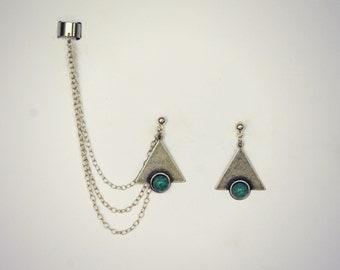 ear cuff silver turquoise triangle earrings, chains ear cuff, geometric ear cuff, ear cuff with chains