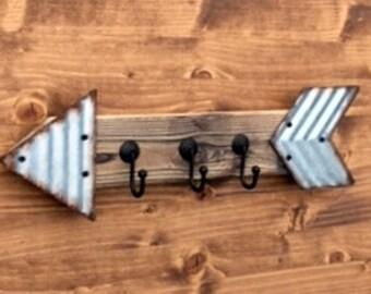 Wall Hooks, Farmhouse Arrow Key Hook Key Holder Entrance Hook Rustic Native Decor