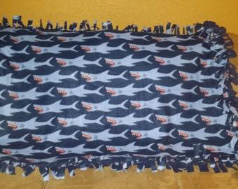 Shark Fleece Tie Blanket