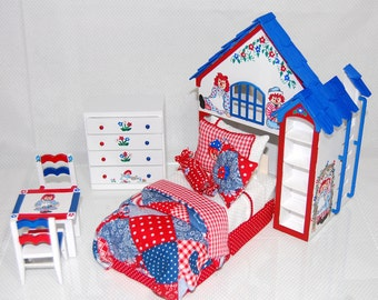 RAGGEDY Ann & Andy PLAYHOUSE Bed Dollhouse Miniature Custom Built Dressed Hand-Painted Red White Blue Rag Dolls