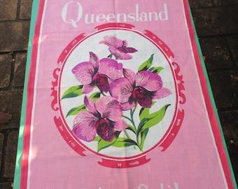Tea Towel Vintage Souvenir of Queensland Cooktown Orchid, Australia. Lamont Vintage 1970s Tea Towel