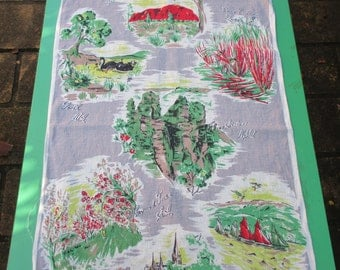 Tea Towel Vintage Souvenir of  Australia - Features different States in Australia - 1980s