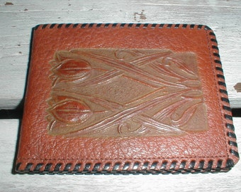 Vintage Meeker Leather Wallet Embossed With Tulips *Great Design*