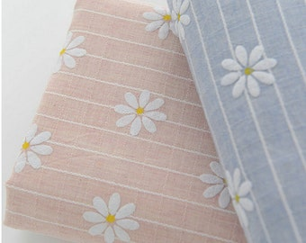 Jacquard Cotton Linen Fabric Stripe Yarn-Dyed Fabric, White Flower, Light Weight Fabric- 1/2 Yard (QT582)