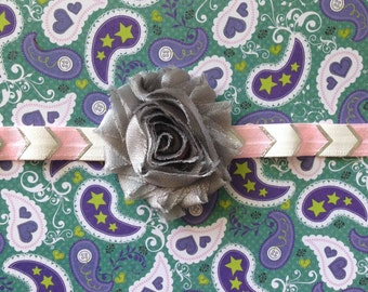 Silver Shabby Flower with a Silver/White/Light Pink Chevron Headband
