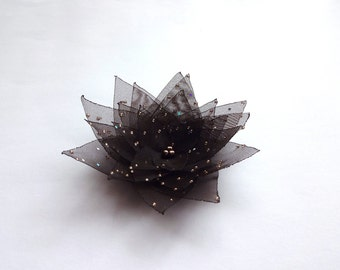 Dark Chocolate Brown Organza Flower Embellishment, Hair Pin, Brooch Pin