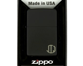 Monogrammed Personalized Black Matte Finish Classic Zippo Lighter for Wedding Party or for Father's Day Gift