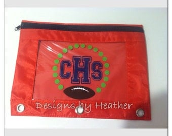 Football Themed Personalized Pencil Pouch