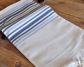 Linen Peshtemal Towel Turkish towel for bath and beach white linen denim blue grey striped