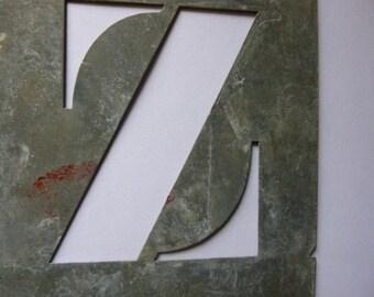 Z, Vintage Stencil Initials, French, Zinc, Letter Z.
