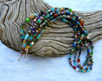 31 Inch Triple Strand Small Gemstone and Bead Necklace
