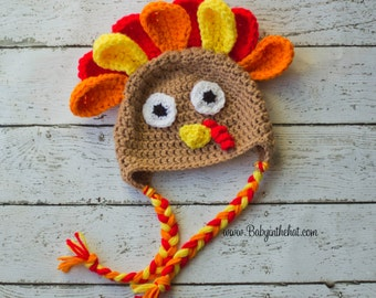 Children's Turkey Hat Fall Thanksgiving Photo Prop Earflap Cap