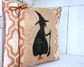 50% CLEARANCE SALE Halloween pillow, burlap pillow, witches, witch pillow, decorative pillows, rustic burlap, rustic halloween, rustic fall