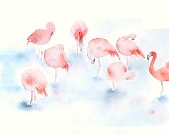 Original Watercolor Painting Flamingos