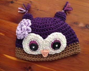 3-6 Months Purple Baby Girl Crochet Owl Hat